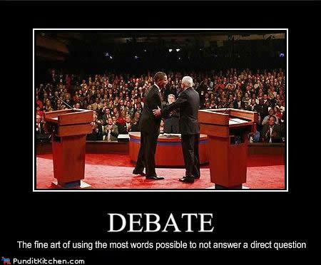 What a true debate is in politics.