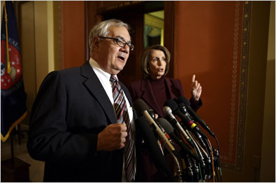 Representative Barney Frank, left, and the House speaker, Nancy Pelosi, on Monday during a news conference on the proposed bailout of the Big Three automakers.