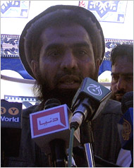 Zakiur ur-Rehman Lakhvi, the supreme operational commander of Lashkar-e-Taiba, at a rally in Pakistan in April.