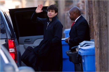 The case against Gov. Rod R. Blagojevich, shown outside his home on Monday, may turn out to be difficult to prosecute.