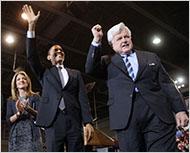 Ms. Kennedy with Barack Obama and Senator Edward M. Kennedy in January.