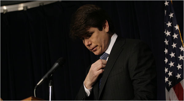 """I'm here to tell you right off the bat that I am not guilty of any criminal wrongdoing,"" Gov. Rod R. Blagojevich told reporters Friday at his Chicago office, adding that ""I intend to stay on the job."""