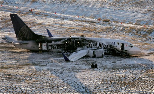 The wreckage of  a 737 Continental plane sits at Denver International Airport on Sunday, Dec. 21, 2008. The plane, bound for Houston, skidded off the runway during takeoff on Saturday evening injuring 38 of 110 passengers. (AP Photo/Rocky Mountain News, Preston Gannaway)