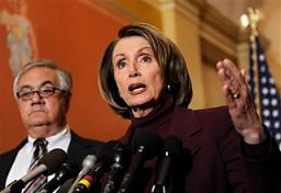 House Speaker Nancy Pelosi, with House Financial Services Committee Chairman Barney Frank, D-Mass., at right, talks about a possible bailout of American automakers during a news conference on Capitol Hill in Washington, Monday, Dec. 8, 2008. (AP Photo/Susan Walsh