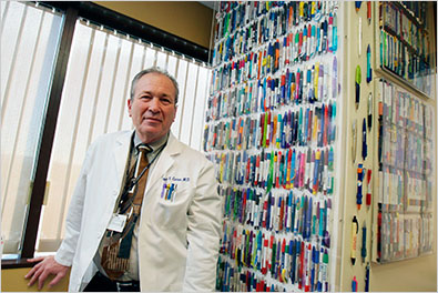 Dr. Jeffrey F. Caren, a cardiologist at Cedars-Sinai Medical Center in Los Angeles, has collected more than 1,200 free pens from drug companies.