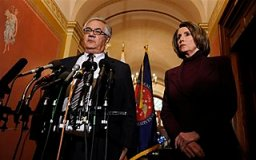 House Speaker Nancy Pelosi, D-Calif., and House Financial Services Committee Chairman Barney Frank, D-Mass., talk about a possible bailout of American automakers during a news conference on Capitol Hill in Washington, Monday, Dec. 8, 2008. (AP Photo/Susan Walsh)