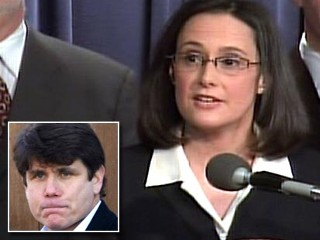 Illinois Attorney General Lisa Madigan asks the state's highest court to strip scandal-plagued Gov. Rod Blagojevich of his powers today during a press conference in Springfield, Ill.