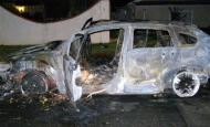 This photograph provided by the Covina Calif. Police Department shows a burned out Dodge Caliber automobile, Thursday, Dec. 25, 2008 in the Sylmar area of Los Angeles that Bruce Pardo drove to his brother's house before committing suicide. Before the suicide, Pardo used remnants of the Santa suit to booby-trap his rental car to explode.