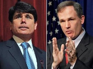 "U.S. Attorney Patrick Fitzgerald, right, announces charges leveled against current Illinois Governor Rod Blagojevich, left, during a news conference at the Dirksen Federal building in Chicago, Illinois today. Blagojevich still has the power to name a U.S. senator to fill the seat vacated by fellow Democrat President-elect Barack Obama, the federal prosecutor in the case said on Tuesday. U.S. Attorney Patrick Fitzgerald said the governor, who was arrested on Tuesday on corruption charges including trying to ""sell"" Obama's seat in the U.S. senate, has sole power to name a successor for Obama"