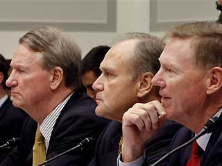 Auto industry executives, from left, General Motors Chief Executive Officer Richard Wagoner; Chrysler Chief Executive Officer Robert Nardelli; and Ford Chief Executive Officer Alan Mulally, testify on Capitol Hill in Washington in this Nov. 19, 2008 file photo.