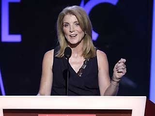 In this Aug. 25, 2008, file photo, Caroline Kennedy speaks at the Democratic National Convention in Denver.