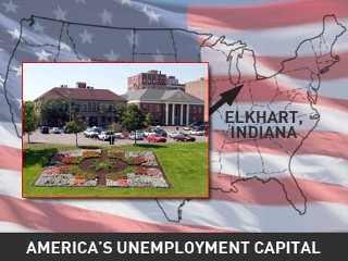 Elkhart, Ind. has been hit hard by the recession. Unemployment here rose faster than any other part of the country in the last year thanks to the closing of several RV factories.