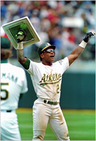 Rickey Henderson broke Lou Brock's career stolen-base record in 1991, and finished with 1,406.