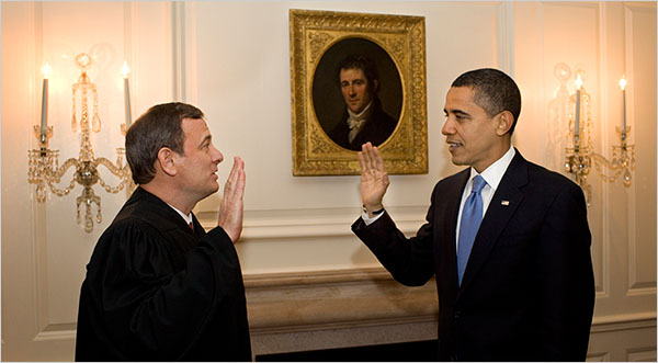 Chief Justice John G. Roberts Jr. re-administering the oath of office to Barack Obama on Wednesday in the White House.