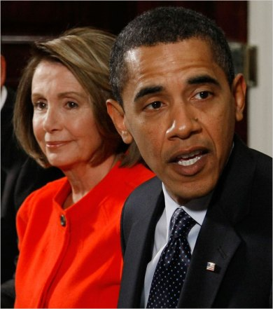 Speaker Nancy Pelosi has alluded to internal debate over whether large banks should be nationalized, while aides to President Obama have avoided the word and are looking into alternatives.