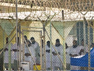 In this file photo reviewed by the U.S. Military, Guantanamo detainees pray before dawn in the Camp 4 detention facility on the U.S. Naval Base in Guantanamo Bay, Cuba. The Camp Pendleton Marine Base in southern California tops the list of military facilities the Joint Chiefs of Staff have recommended for a new prison to house the 250 detainees currently being held at the US Navy base in Guantanamo Bay, US military officials tell ABCNews.com