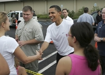 President-elect Barack Obama greets well-wishers outside the Semper Fit Center at the Marine Corps Base …