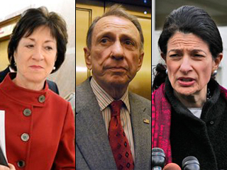 Sen. Susan Collins of Maine, Sen. Arlen Specter of Pennsylvania and Sen. Olympia Snow, also of Maine, have broken with other Republicans to support the Democrats' plan for spending and tax cuts to