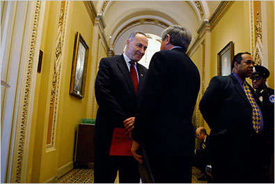 Senators Charles Schumer, left, and Ben Nelson outside Senator Harry Reid's office on Friday as the negotiating continued over President Obama's stimulus package.