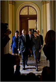 Senators Susan Collins, Harry Reid, Arlen Specter, Olympia J. Snowe and Joseph I. Lieberman left a meeting on Wednesday after an agreement was reached on the economic stimulus bill.