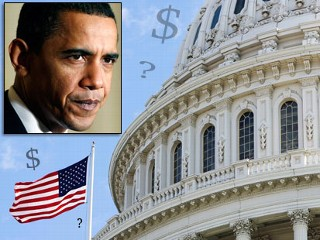 President Barack Obama and both houses of Congress face tricky negotiations to produce a unified version of a stimulus bill. In the main image above, the American flag flies at the U.S. Capitol, Sunday,