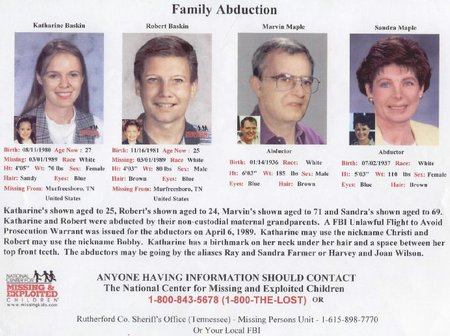 "Katharine Christine ""Christi"" Baskin, Robert Maple ""Bobby"" Baskin, and their maternal grandparents, Marvin L. and Sandra K. Maple, are shown in a poster"