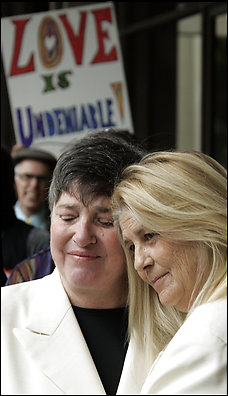 "Robin Tyler, left, with her partner, Diane Olson. Tyler views ""Milk"" as a galvanizing force in the fight over Proposition 8. (By Reed Saxon -- Associated Press)"