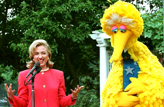 1994 Hillary Clinton and Big Bird